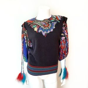 Vintage Sweaters - Vintage Sequin & Bead Feather Black Sweater